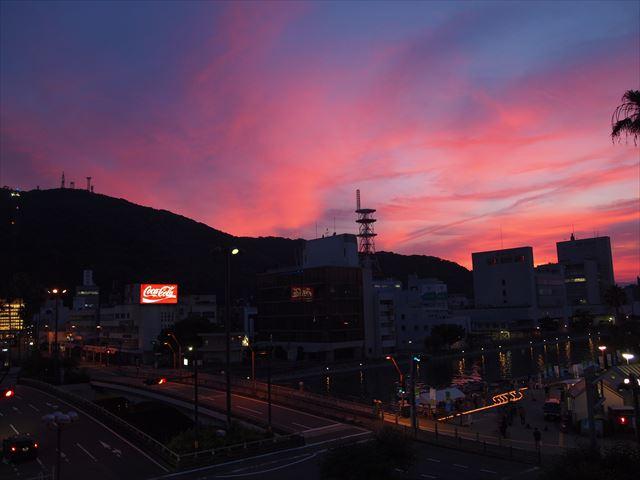 徳島 眉山 美しい夕焼け