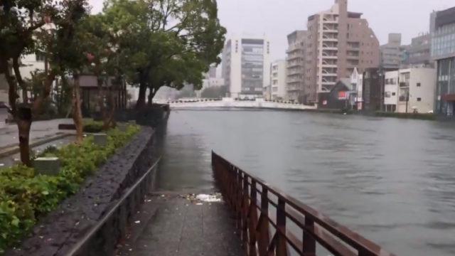 2018年9月4日 徳島県 徳島市 台風 21号 新町橋付近