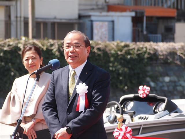 ひょうたん島クルーズ 進水式 「新町川を守る会」 徳島市長 遠藤彰良さん