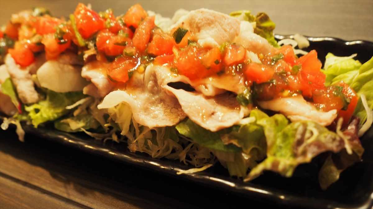 徳島市栄町 創作ダイニング hana 家庭料理 豚しゃぶサラダ おいしい