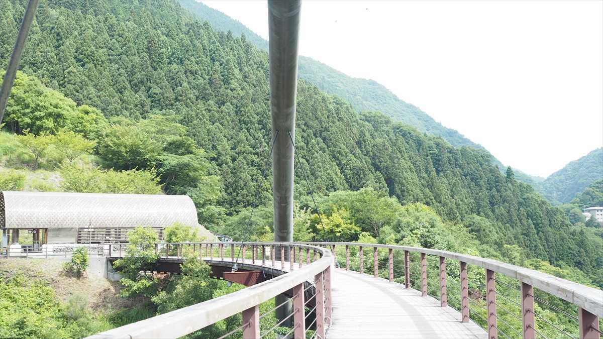 祖谷ロマン橋 単弦アーチ橋 アーチ部材を中央分離帯に一本だけ設ける