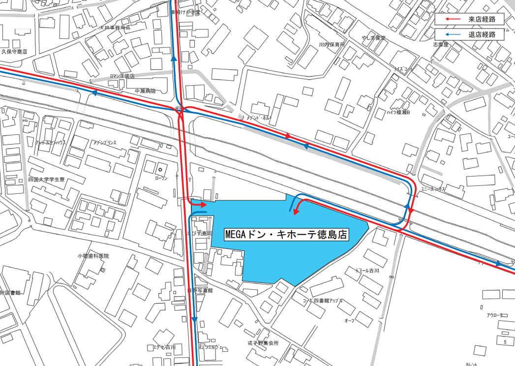 MEGAドン・キホーテ徳島店 入店経路図