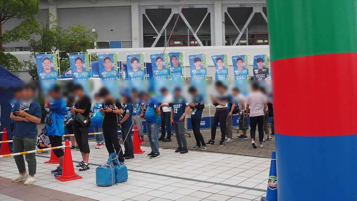 徳島ヴォルティスvsツエーゲン金沢 鳴門市民デー 鳴門 青緑チェックスカーフ 行列