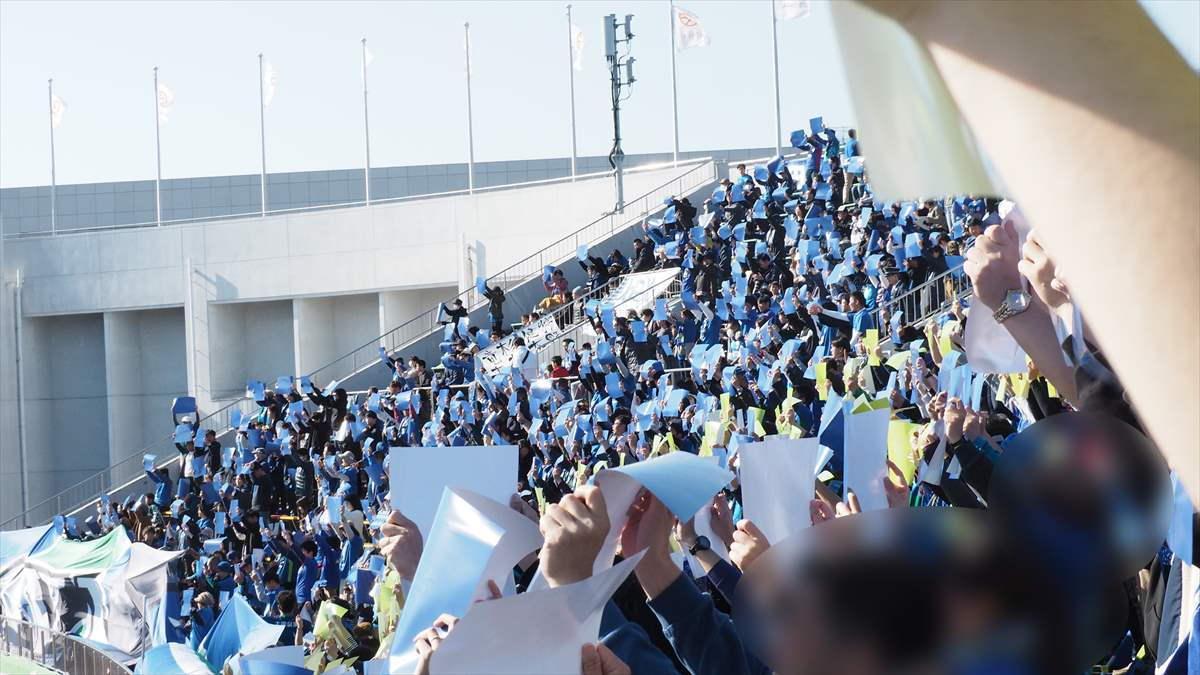 J1参入プレーオフ2019 徳島ヴォルティスサポーター コレオ