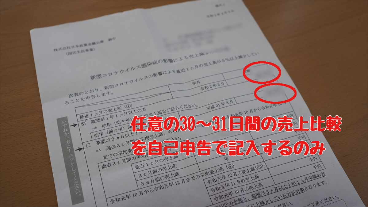 日本政策金融公庫 新型コロナウイルス感染症特別貸付 売上 自己申告