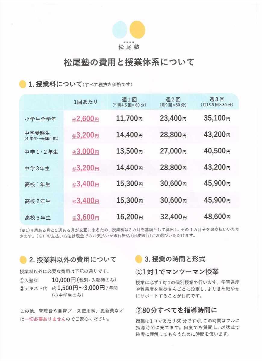 松尾塾 リーズナブル 徳島 自習ブース無料 更新費なし 管理費なし